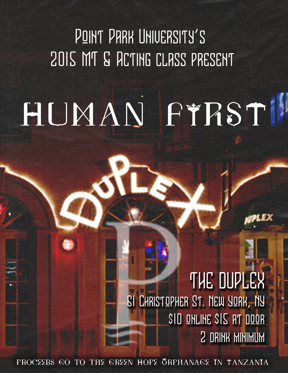 human first point park university u0027s 2015 mt u0026 acting class by